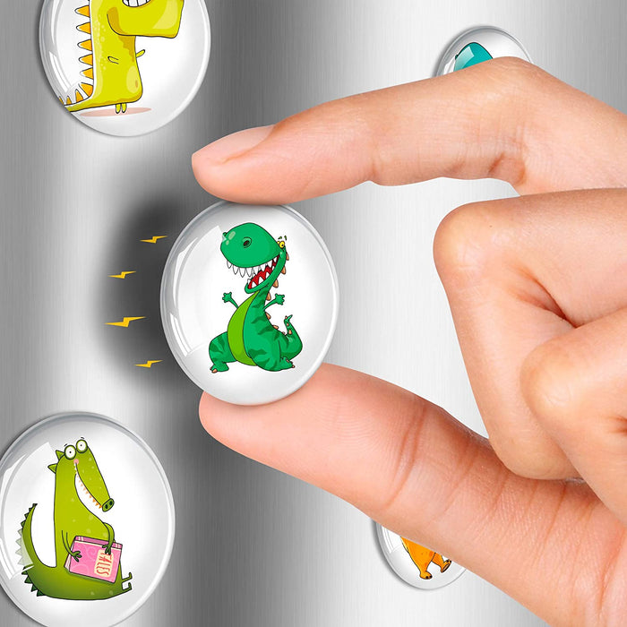 Dinosaurs Glass Magnets - Cute Fridge Magnets - Funny Magnets for Fridge - Craft Magnets Round - 12 PCs