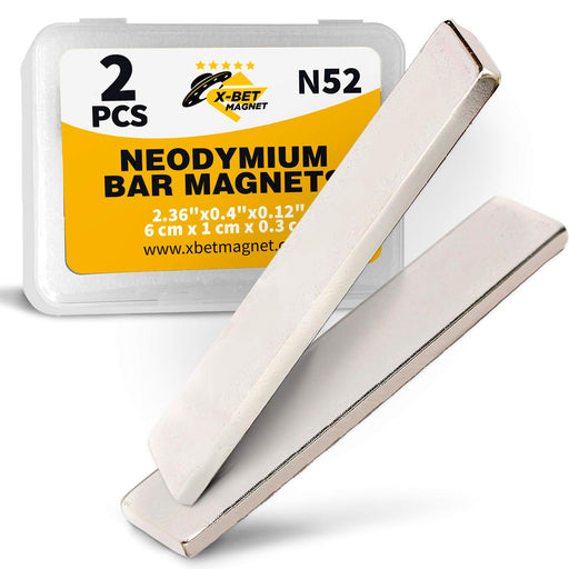 Neodymium Bar Magnets -Rare Earth Magnets Super Strong - N52 Grade (Ndfeb) - 2 Block Magnets in Box