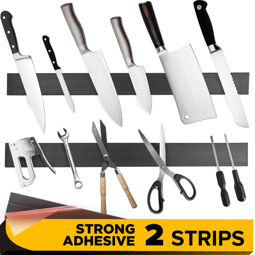 Adhesive Magnetic Strip - Knife Holder - Kitchen Utensil Holder - Tool Holder for Garage - Kitchen Organizer - 2 PCs