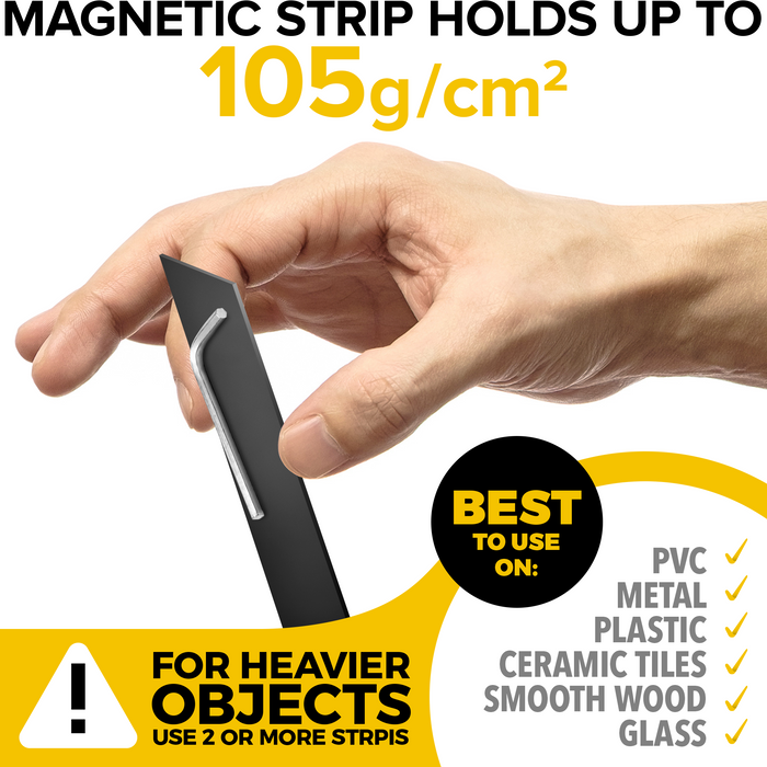 Flexible Magnetic Tape - Wide 1.5 Inch x 10 Feet Sticky Magnetic Strip - Adhesive Magnets for DIY, Craft and Education