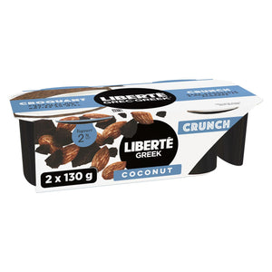 Liberté 2% Greek Crunch Coconut Yogurt with Dark Chocolate & Honey Roasted Almonds