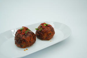Baked Korean spiced giant turkey meatball