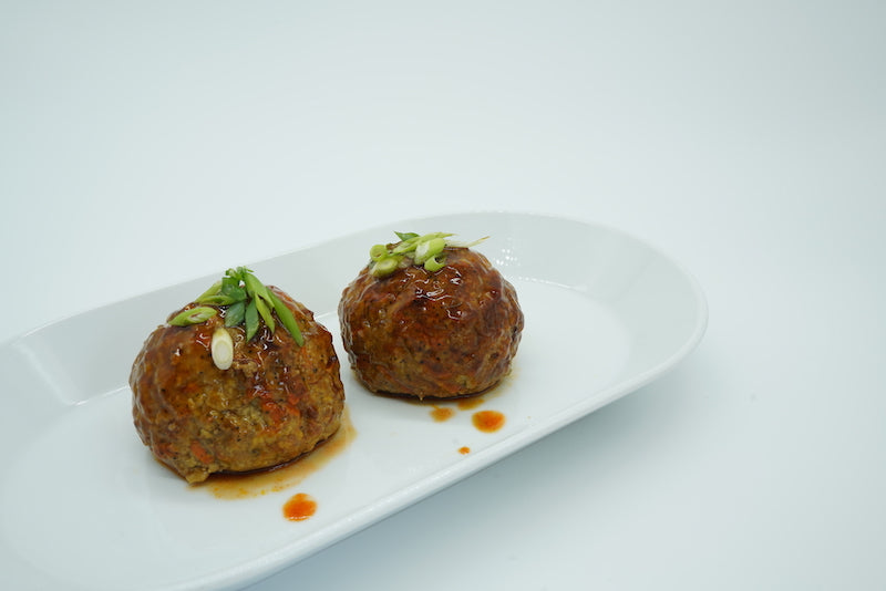 Baked teriyaki giant turkey meatball