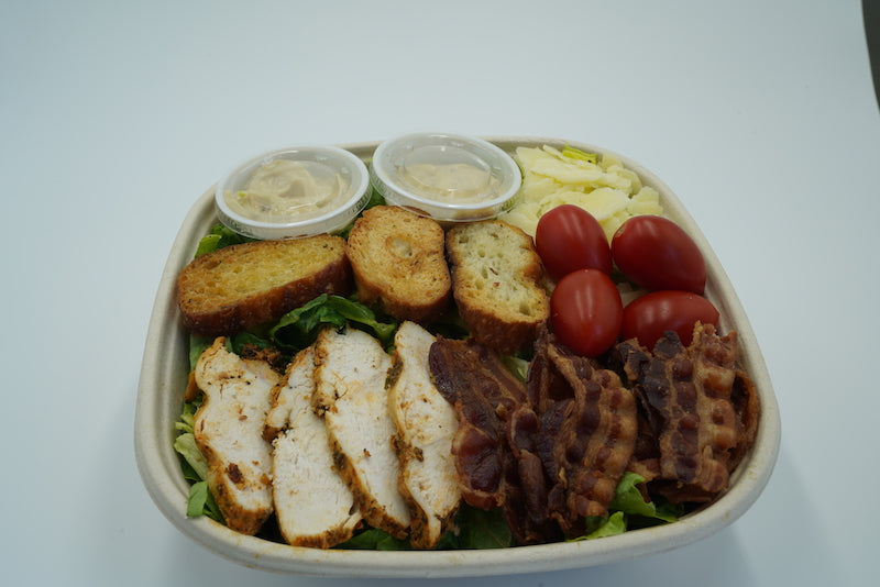 Large classic grilled chicken breast and applewood bacon salad