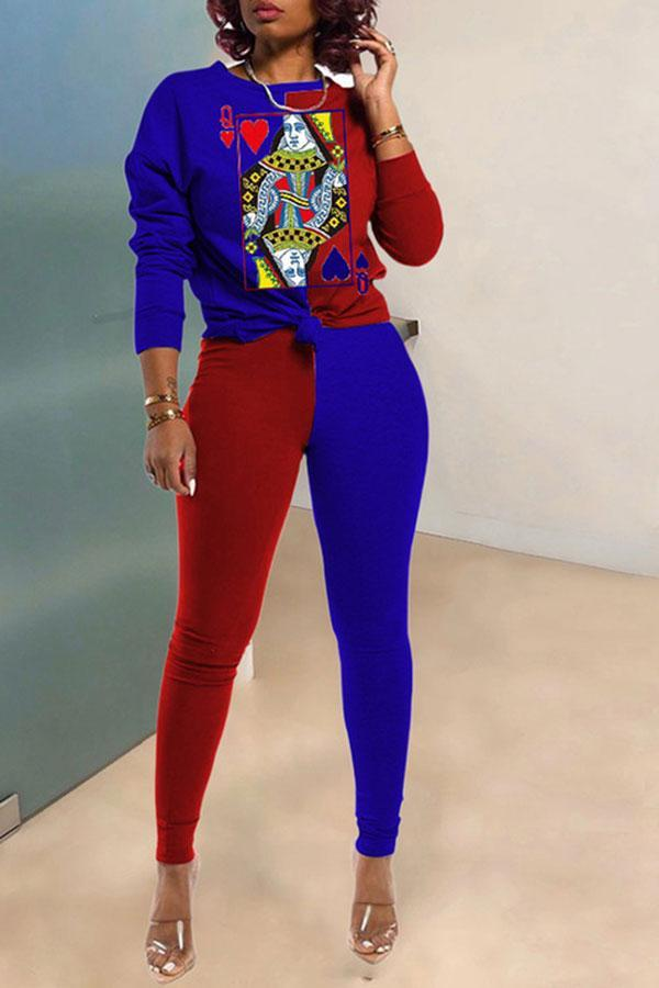 Poker Print Color Block Casual Pants Suit