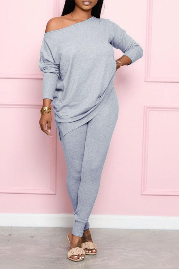 Solid Color On-trend Round Neck Pants Suit