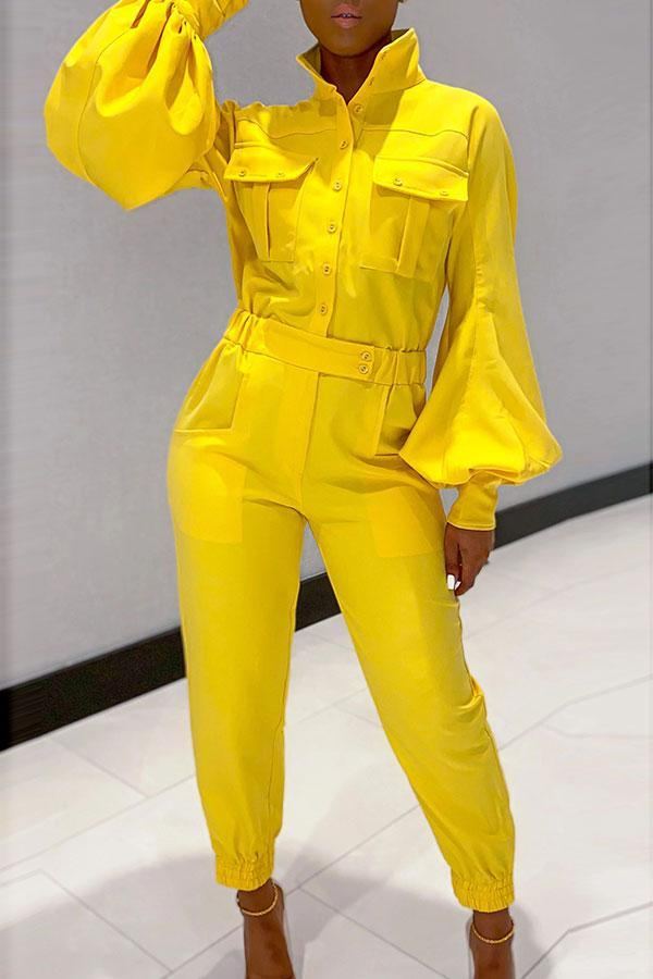 Solid Color Classic Puff Sleeve Jumpsuit