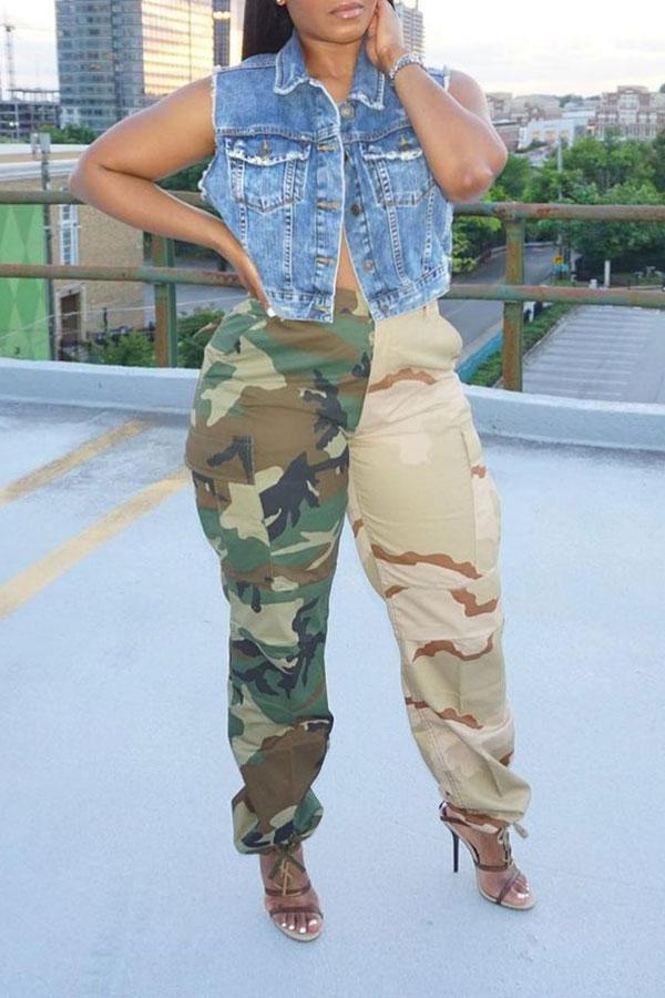 Camouflage Stylish Wide-legged Pants