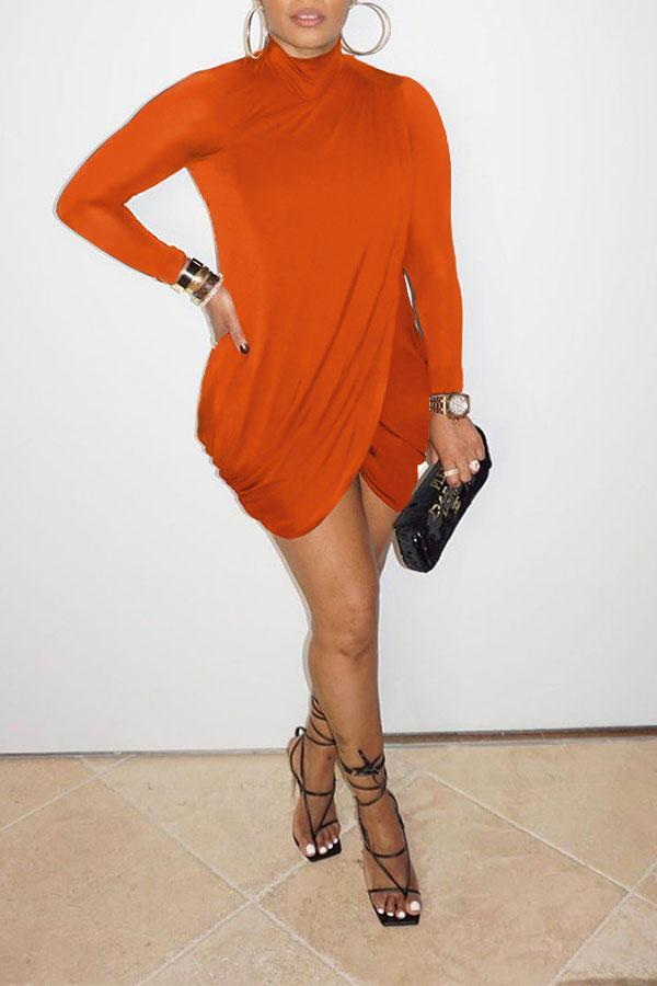 Solid Color Pretty Front Wrap Mini Dress