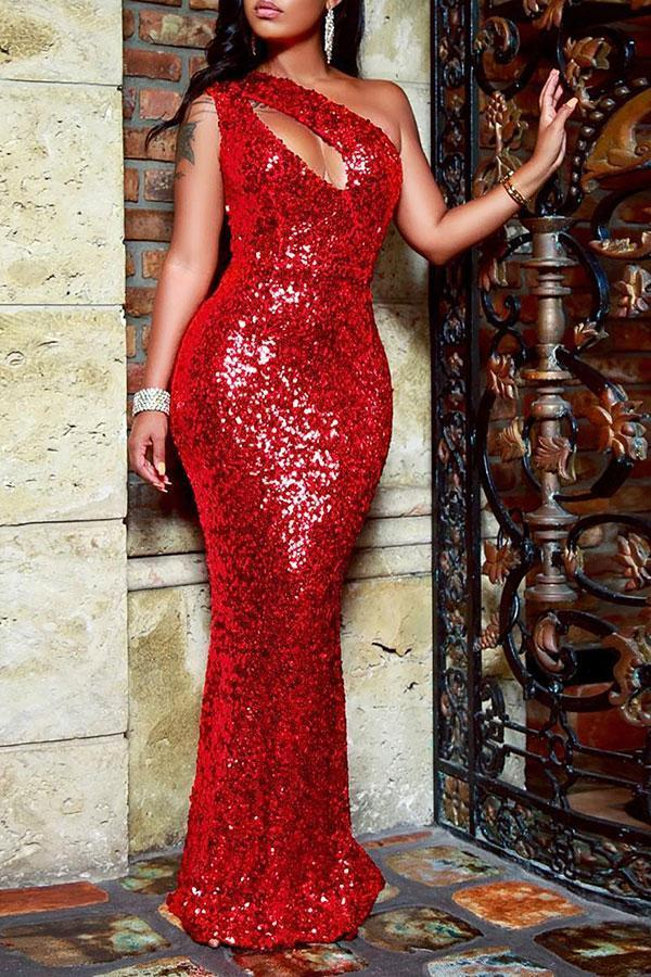 Sequined Glamorous Irregular Cutout Maxi Dress