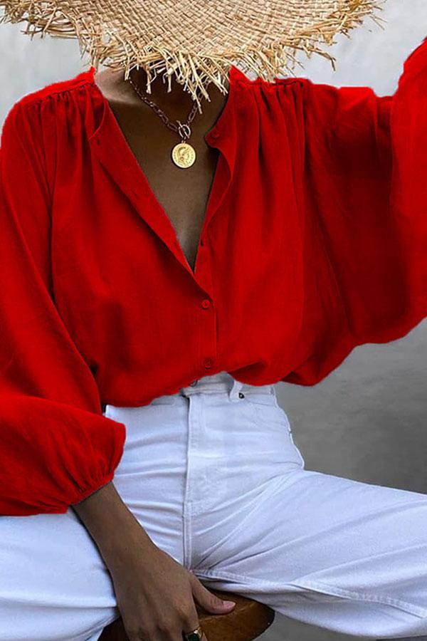 Solid Color Modern Single Breasted Blouse