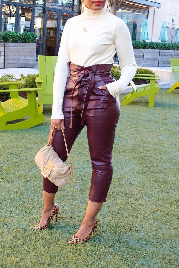 Solid Color Modern High Waist Pencil Pants