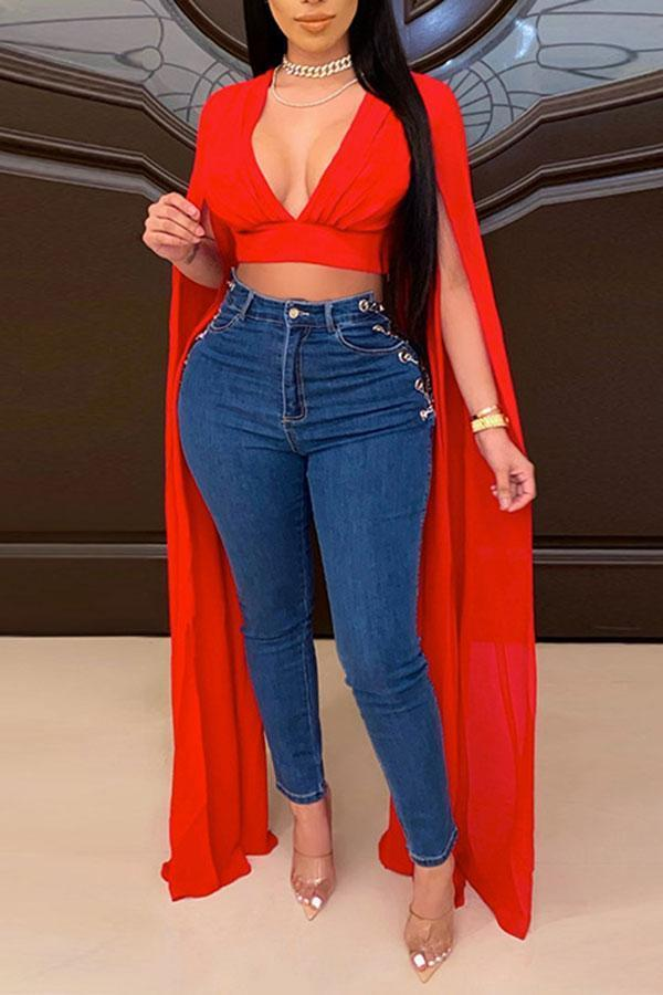 Solid Color Stylish Midriff-Baring Deep V Neck Blouse