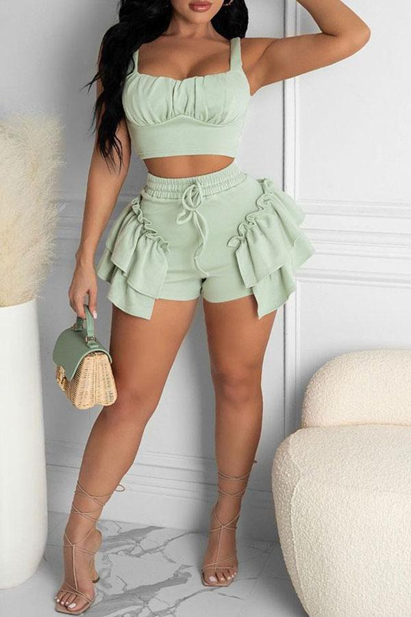 Solid Color On-trend Falbala Short Pants Suit