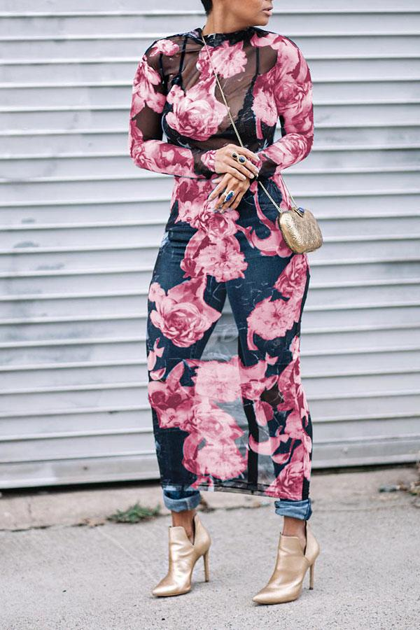 Floral Print On-trend See-Through Midi Dress