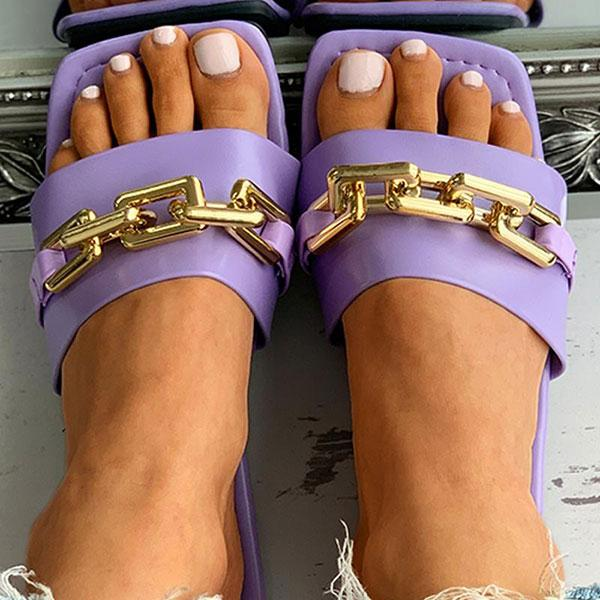 Solid Color On-trend Sandals with Chains