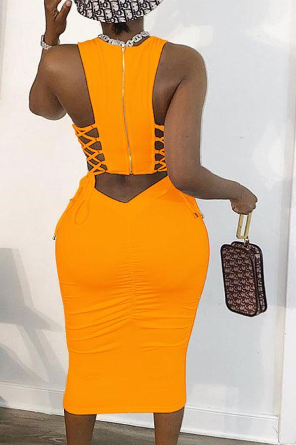 Solid Color Crochet Zipper Classic Midi Dress