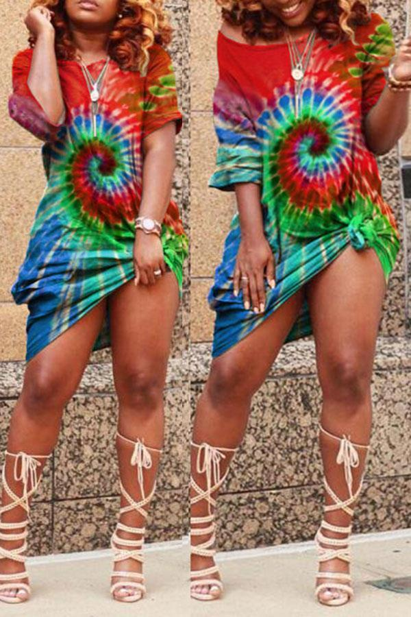 Tie Dye Colorful Slash Neck Mini Dress
