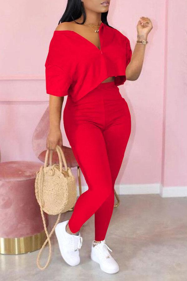 Solid Color Modern Zipper High Waist Pants Suit