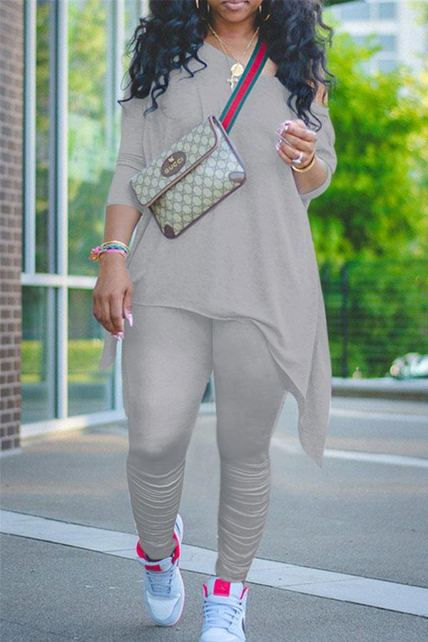 Plain Feminine Irregular Pants Suit