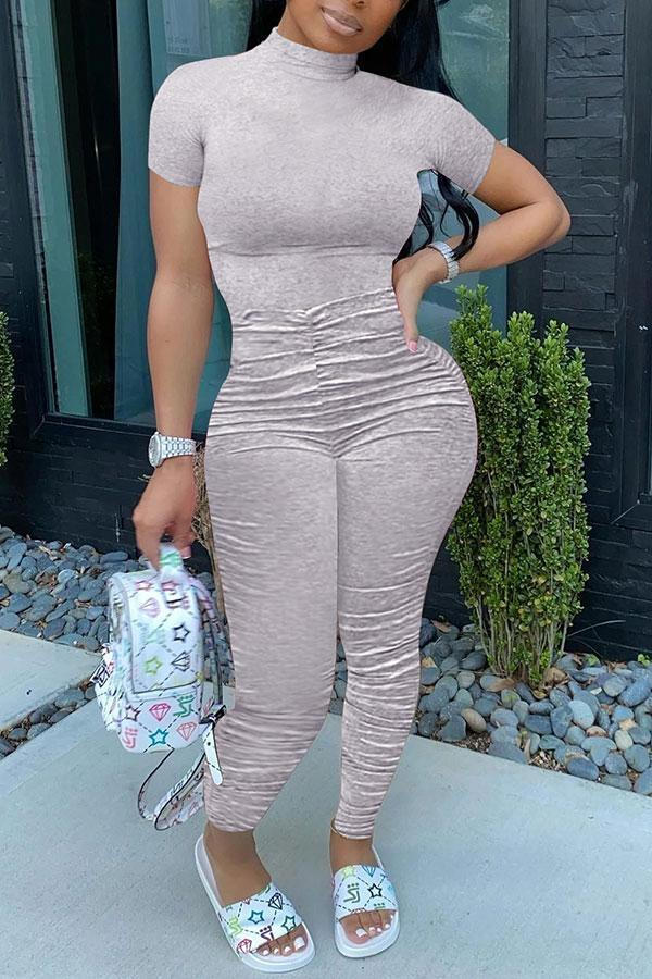 Solid Color Sporty High Neck Jumpsuit