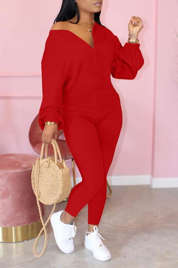 Solid Color Stylish Round Neck Jumpsuit