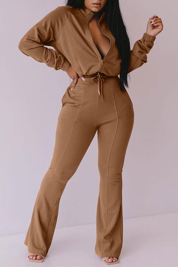 Solid Color Classic Drawstring Jumpsuit