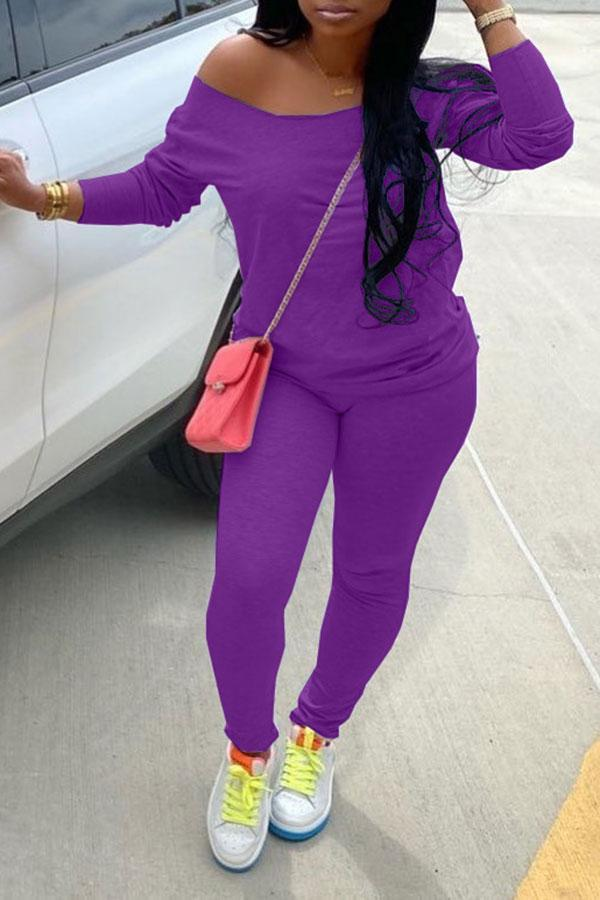 Solid Color Casual Scoop Neck Pants Suit