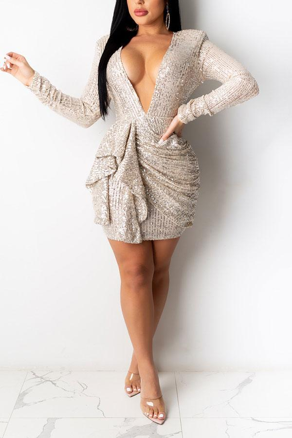 Sequined Glamorous Backless Deep V Neck Mini Dress