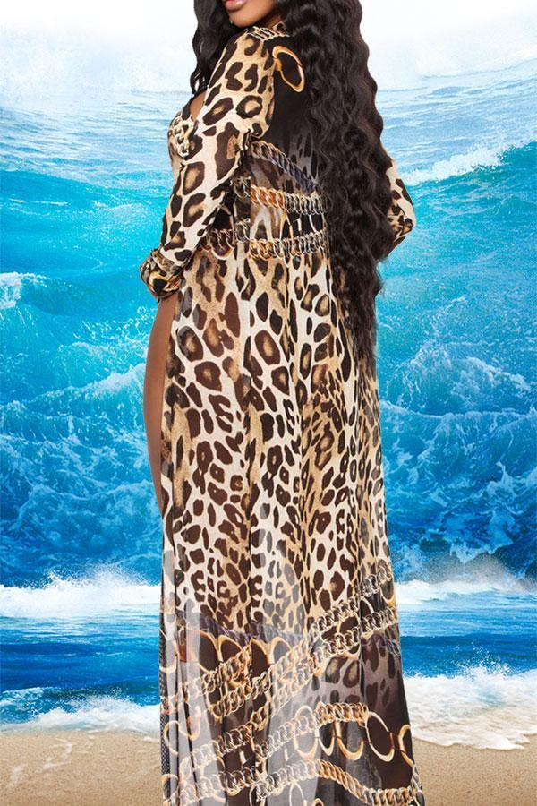 Leopard Print Beachy Front Wrap Three Pieces