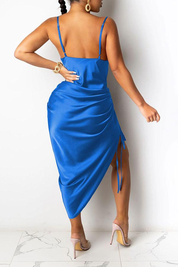 Solid Color Striking Lace-Up Midi Dress