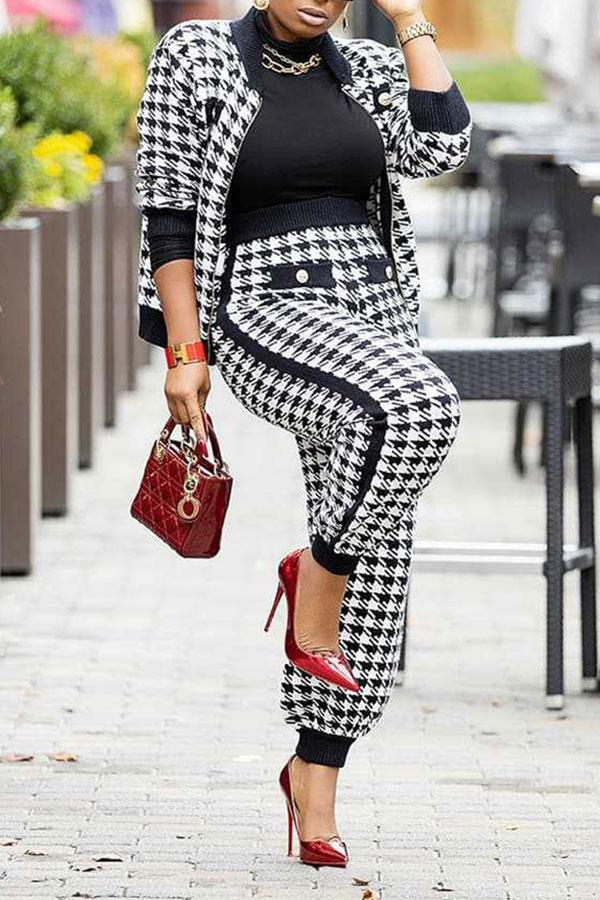 Houndstooth Casual Zipper Pants Suit