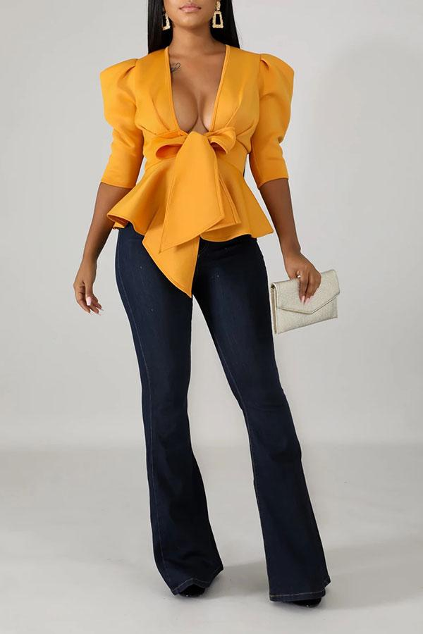 Solid Color Elegant Knotted Ruffles Blouse