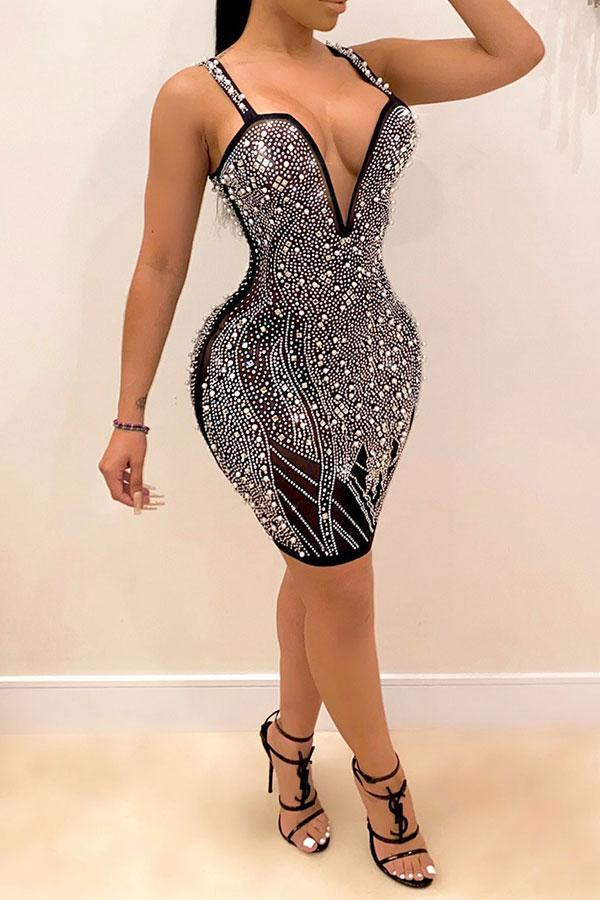 Deep V Neck Patchwork Rhinestones Party Mini Dress