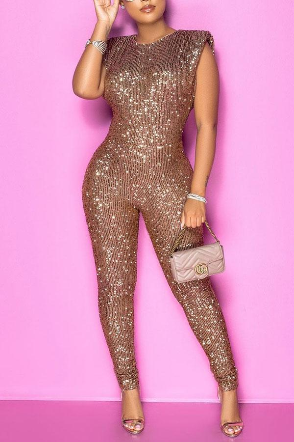 Sequined Sparkly Sleeveless Padded Shoulder Jumpsuit