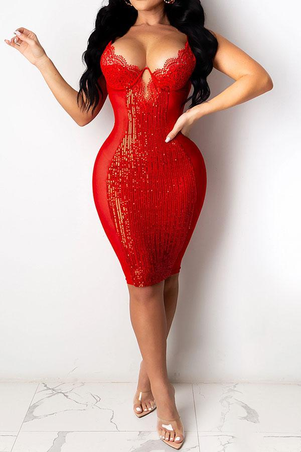 Sequined&Lace Patchwork Glamorous See-Through Mini Dress