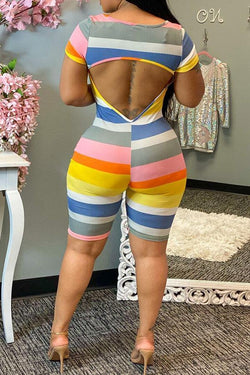 Striped Pretty Backless Romper