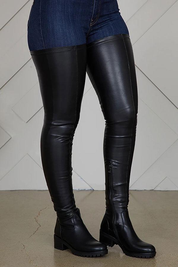 Solid Color On-trend Thigh-Length Boots