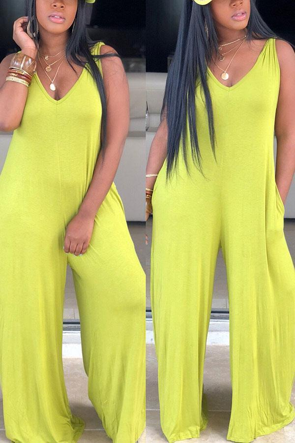 Solid Color Casual Wide-Leg Jumpsuit