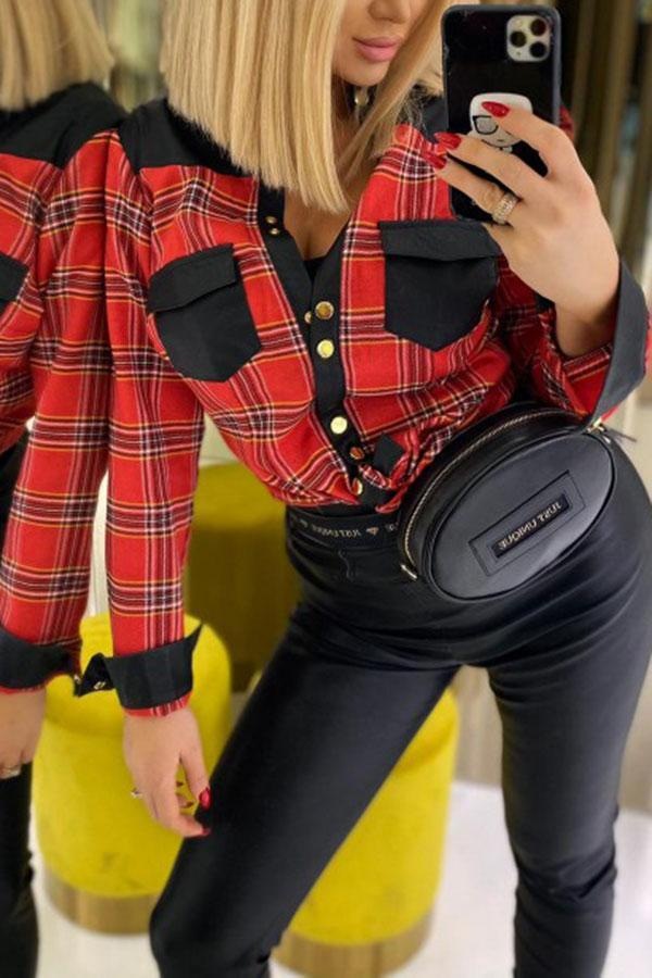 Hit Color Tartan On-trend Blouse