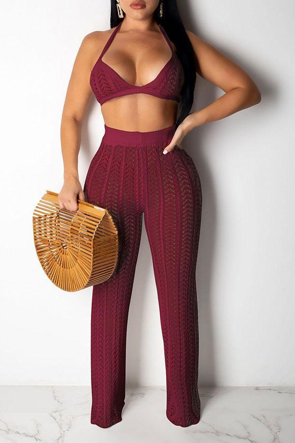 Solid Color Classic Cutout See-Through Pant Suit