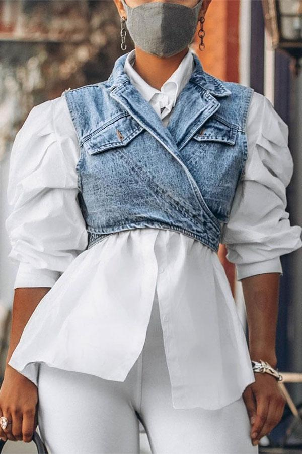Outstanding Puff Sleeve White Blouse & Adjustable Denim Gilet