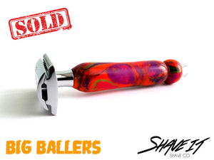 "Shave It DE Safety Razor #0002BAL - ""Candyland"" - BIG BALLER Long Handle"