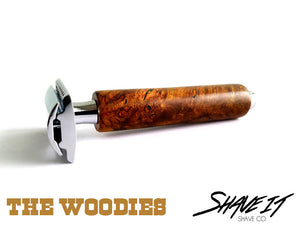 "Shave It DE Safety Razor #0008LHW - ""Stogie"" - Long Handle - Tree Trunk"