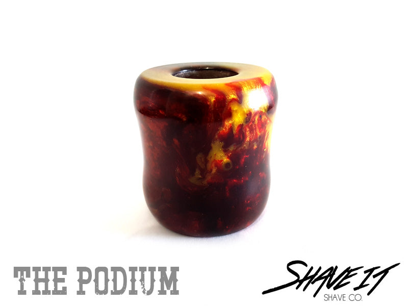 Shave It THE PODIUM Hand Crafted Razor Stand #0004POD - Black/Red/Orange/Yellow Resin Mix
