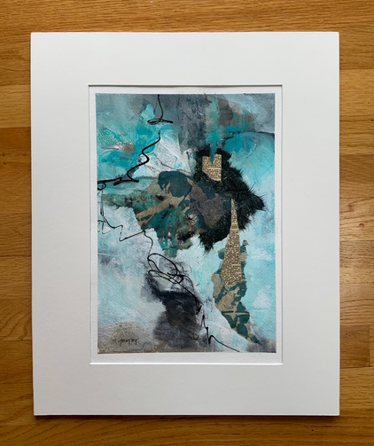 A mixed media collage on paper, incorporating acrylic paints, torn handpainted papers, torn pieces of old dictionary, and acrylic markers.  The palette is predominantly teal, with black, gray, and bronze-toned elements. The piece is 11 x 15 in. with a white mat making it 16 x 20 overall.