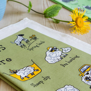 Swaledales of Yorkshire Tea Towel with Flower