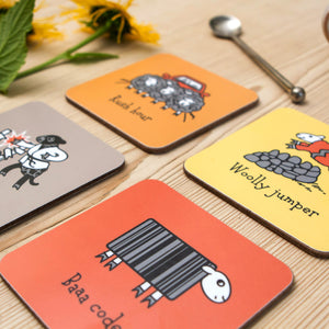 Herdwicks of the Lake District Coasters Warm Colours Set on Coffee Table