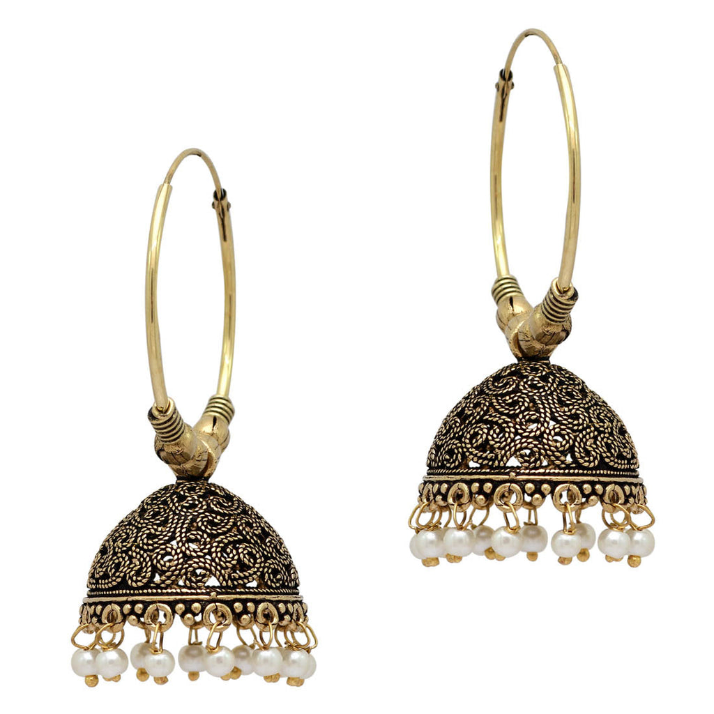 White Color Beads Traditional Jhumka Earrings (GSE814WHT)