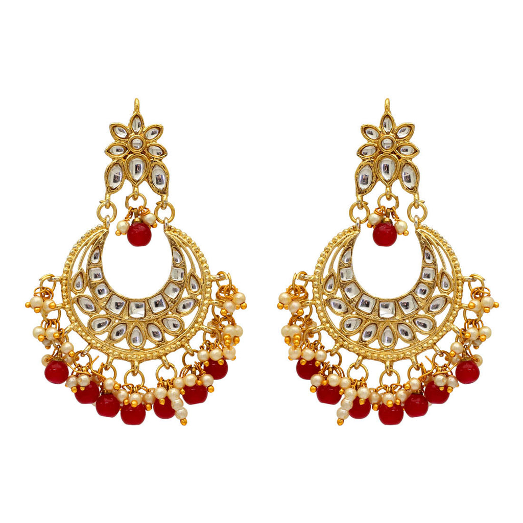 Maroon Color Imitation & Kundan Earrings (KDE33MRN)